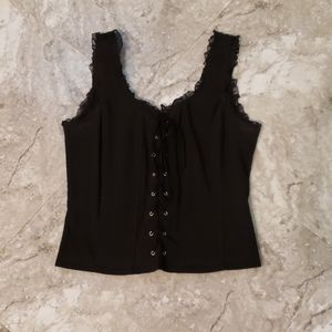 Black Lace up Corset top Hot Topic S